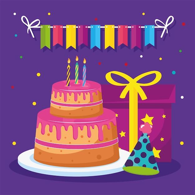 Tort urodzinowy z prezentem i kapeluszem