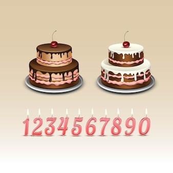 Tort urodzinowy z wiśnią i świecami z cyframi.