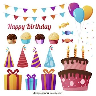 Tort urodzinowy zestaw z elementami