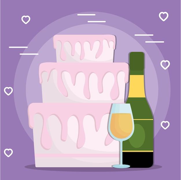 Tort weselny i butelka szampana i ikony szkła
