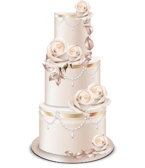 Tort weselny złote ozdoby i kwiaty róży