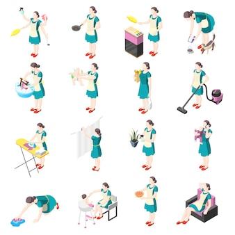 Torturowane izometryczne ikony gospodyni z kobietami zaangażowanymi w pranie, sprzątanie, sprzątanie, prasowanie, ogrodnictwo, zmywanie naczyń, opieka nad dziećmi na białym tle