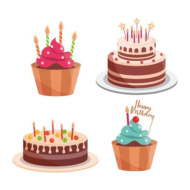 Torty urodzinowe i babeczki świece napis celebracja i ilustracja dekoracji