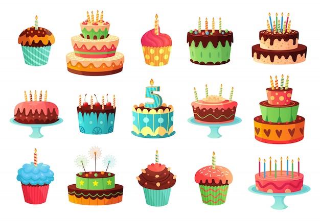 Torty urodzinowe kreskówka. słodki upieczony tort, kolorowe babeczki i celebracja ciasta zestaw ilustracji