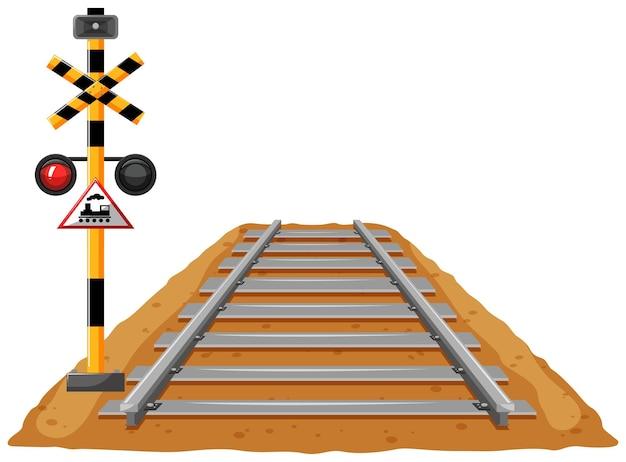 Tory kolejowe i słup sygnału świetlnego