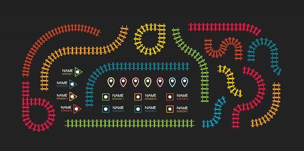 Tory kolejowe, kierunek kolejowy, tory kolejowe kolorowe ilustracje. kolorowe schody, stacje metra mapa widok z góry, elementy infographic.
