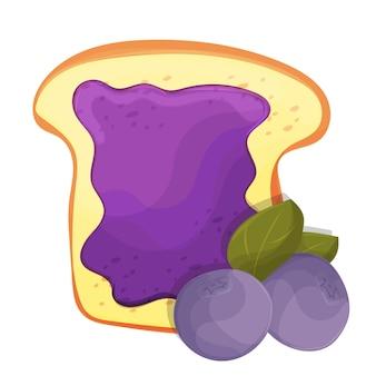 Tosty kromka chleba z dżemem jagodowym kanapki na śniadanie i odizolowane na białym tle.