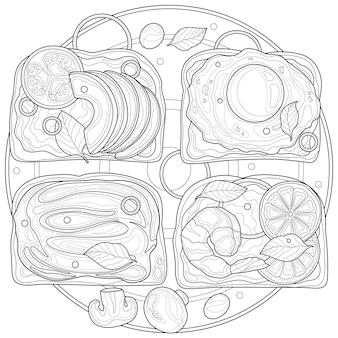 Tosty z jajkiem, awokado i krewetkami. kolorowanka antystresowa dla dzieci i dorosłych. ilustracja na białym tle. styl zen plątanina. czarno-biały rysunek