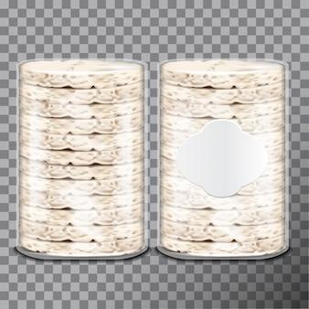Tosty z pszenicy, ryżu lub kukurydzy w przezroczystym opakowaniu z folii plastikowej lub celofanowej.