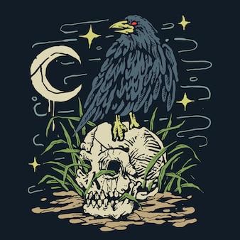 Tough raven skull ilustracja gotycka