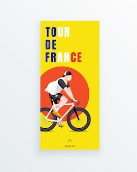 Tour de france męski wieloetapowy wyścig rowerowy wyścigowy szablon historii mediów społecznościowych z młodym rowerzystą na żółtym tle. zawody sportowe i aktywność na świeżym powietrzu. odzież i sprzęt sportowy.