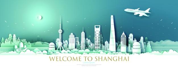 Tour landmark centrum szanghaju z transparentem miejskiego wieżowca