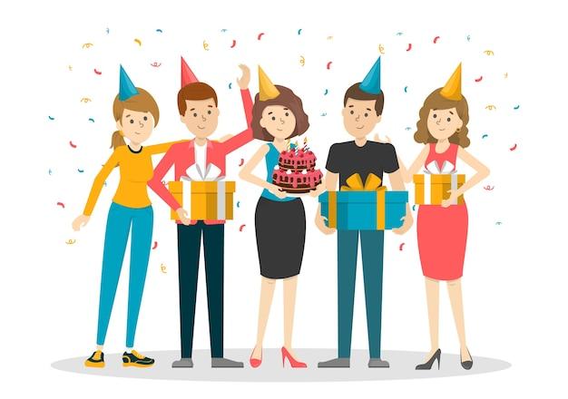 Towarzystwo ludzi na przyjęciu urodzinowym. uroczystość