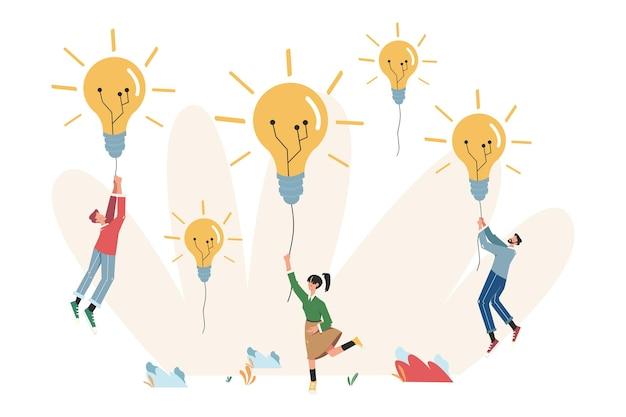 Towarzystwo ludzi trzymających nić od żarówki papierowego samolotu, zmierzających w kierunku celów i pomysłów