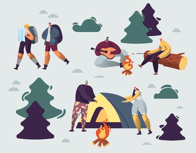 Towarzystwo młodych ludzi spędza czas na letnim obozie w głębokim lesie. płaskie ilustracja kreskówka