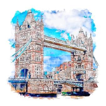 Tower bridge london szkic akwarela ręcznie rysowane ilustracji