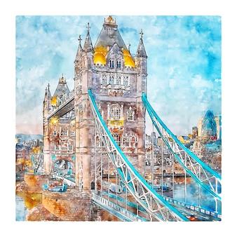 Tower bridge london wielka brytania szkic akwarela ręcznie rysowane ilustracji