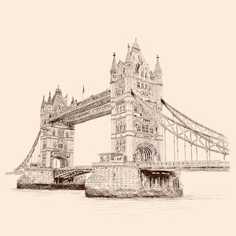 Tower bridge w londynie po drugiej stronie tamizy. szkic ołówkiem na beżowym tle.