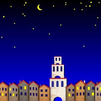 Townscape wykonany ze starego papieru w nocy