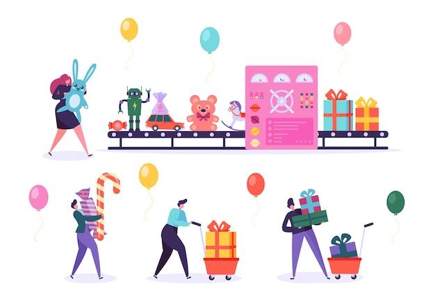 Toy factory conveyor pack christmas gift. obecny przemysł maszyn do produkcji pudełek zautomatyzowana produkcja liniowa. zgromadzenie znaków ludzi candy bear na urodziny pozdrowienie wektor ilustracja kreskówka płaski