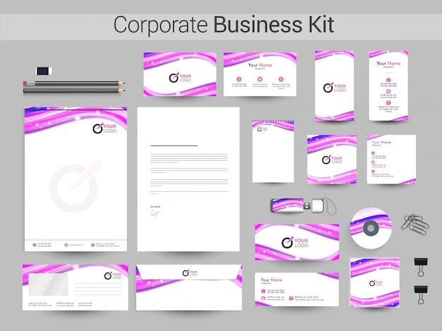 Tożsamość korporacyjna lub zestaw biznesowy z falami abstrakcyjnymi.