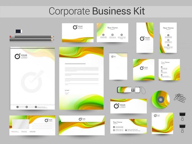 Tożsamość korporacyjna lub zestaw biznesowy z falami.