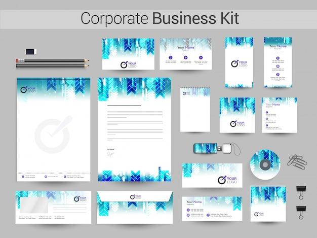 Tożsamość korporacyjna z kreatywnym abstrakcyjnym projektem.