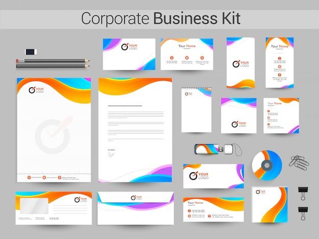 Tożsamość korporacyjna, zestaw biznesowy z kolorowymi falami.