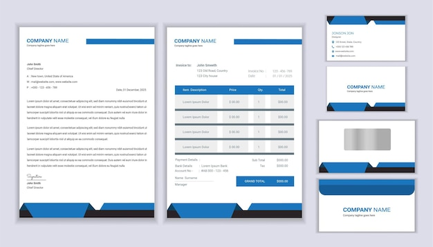 Tożsamość zbiorowa. projekt szablonu papeterii z nagłówkiem, fakturą i wizytówką.
