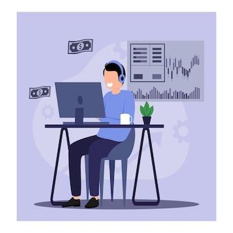 Trader czerpie zyski z handlu online