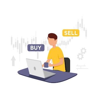 Trader pracujący online koncepcja handlowa
