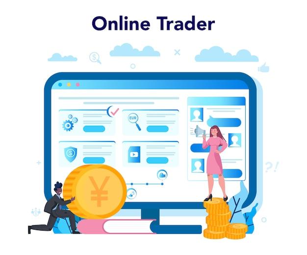 Trader, usługa lub platforma internetowa dotycząca inwestycji finansowych. kupuj lub sprzedawaj zyski, strategia handlowa. idea wzrostu pieniędzy i wzrostu finansów. stronie internetowej. ilustracji wektorowych