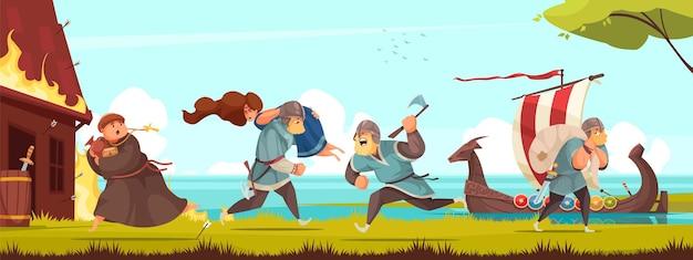 Tradycje kulturowe historii wikingów horyzontalna kompozycja kradzieży kobiet zabijających mężczyzn