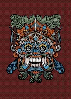 Tradycyjna balijska maska okropny mityczny obrońca, wektorowa kontur ilustracja