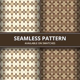 Tradycyjna batikowa bezszwowa deseniowa tło klasyka tapeta. elegancki geometryczny kształt. luksusowe etniczne tło w kolorze brązowym