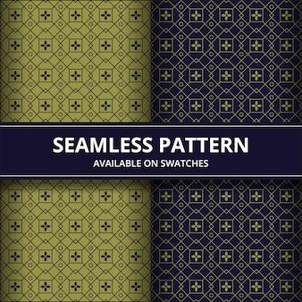 Tradycyjna batikowa bezszwowa deseniowa tło klasyka tapeta. elegancki geometryczny kształt. luksusowe etniczne tło w kolorze złotym i granatowym