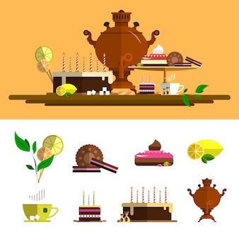 Tradycyjna ceremonia herbaty z samowarem. wektor elementy ustawione w stylu płaski. elementy projektu: kubek, ciasto, czekolada, cytryna, ciasteczka, słodycze.