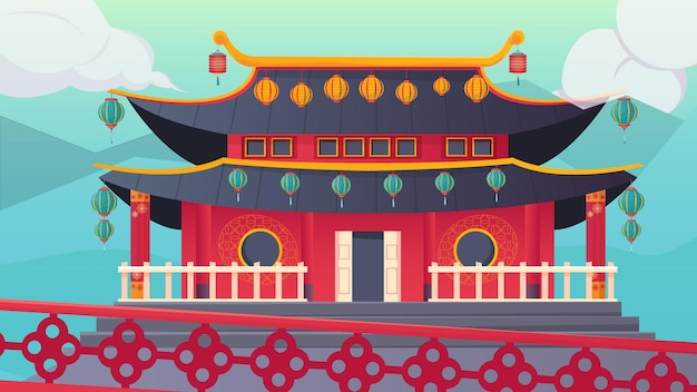 Tradycyjna chińska świątynia na zewnątrz ozdobiona kolorowymi lampionami na noworocznej płaskiej ilustracji