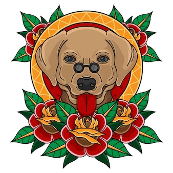 Tradycyjna głowa psa z tatuażem z różą
