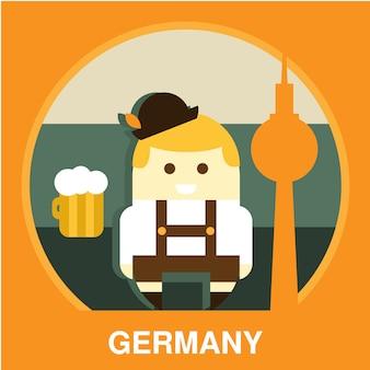 Tradycyjna ilustracja niemcy mieszkaniec