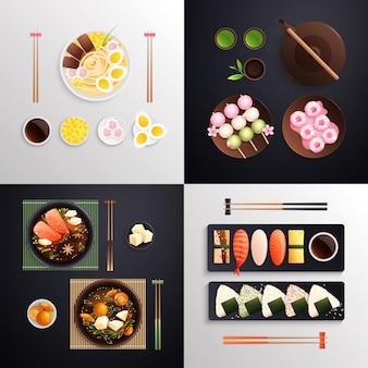 Tradycyjna japońska kuchnia jedzenie koncepcja płaskiego projektu 2x2 z czterema kwadratowymi kompozycjami z serwowanymi potrawami