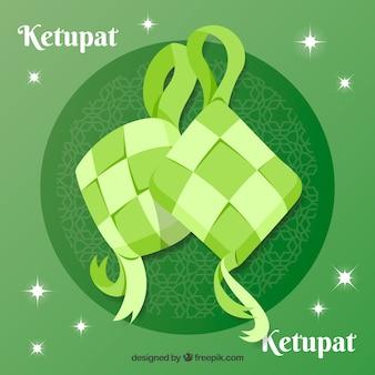 Tradycyjna kompozycja ketupat o płaskiej konstrukcji