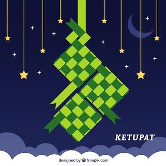 Tradycyjna kompozycja ketupatowa z płaskim deisgn
