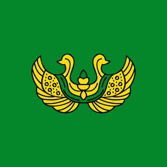 Tradycyjna koncepcja logo z abstrakcyjnym ptakiem