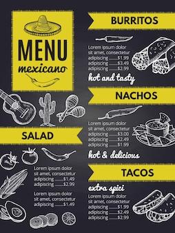 Tradycyjna kuchnia meksykańska. szablon projektu menu restauracji meksykańskiej z burrito i nachos, ilustracja