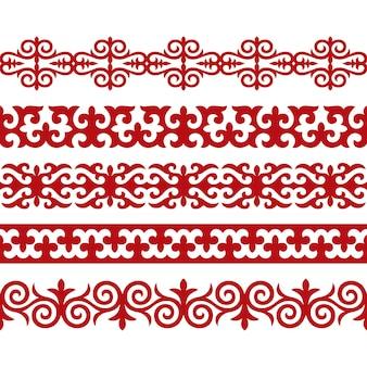 Tradycyjna ozdoba azji środkowej do dekoracji ubrań i jurt. koczowniczy ornament.