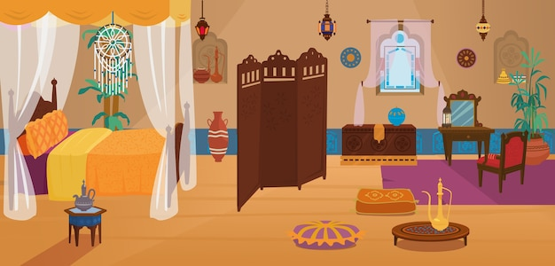Tradycyjna sypialnia bliskowschodnia z meblami i elementami dekoracyjnymi.