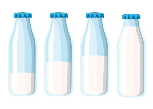 Tradycyjna szklana butelka na mleko. szablon czterech butelek mleka. ilustracja na białym tle.