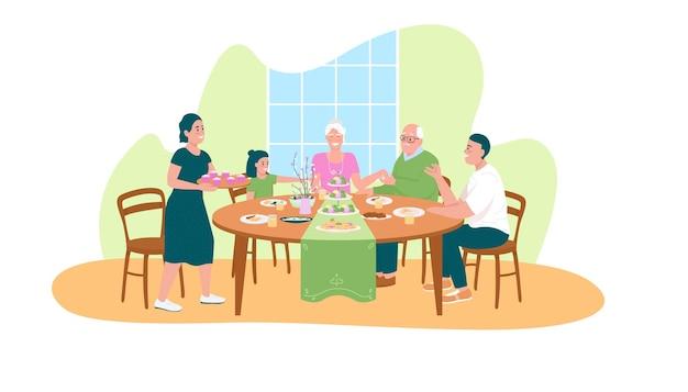 Tradycyjna wielkanocna kolacja 2d baner internetowy, plakat