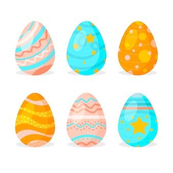 Tradycyjna wiosna malowane jajka płaska